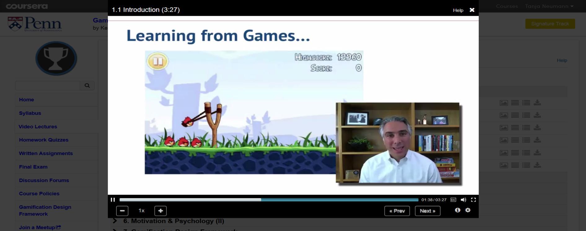 Screenshot: Seminar von Kevin Werbach auf coursera.org, 2014