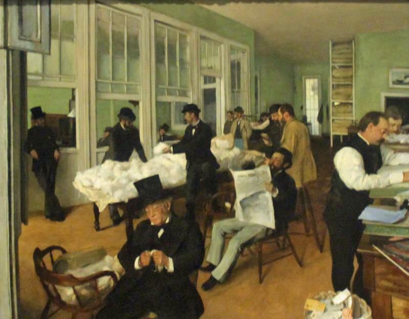 """Erinnert ebenfalls stilistisch an eine Fotografie: """"Das Baumwollkontor in New Orleans"""", Edgar Degas, 1873. Foto: Tanja Neumann"""